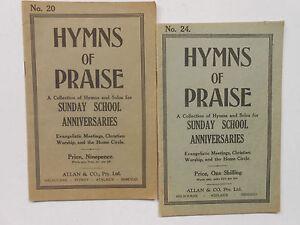 HYMNS OF PRAISE #20 & #24 - SUNDAY SCHOOL ANNIVERSARIES -CHRISTIAN MUSIC VINTAGE