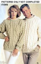 Mens Womens Knitting PATTERNS Pullovers Jackets Cardigans Aran Cable S-XL