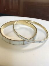 Vintage Lot of 2 Mother of Pearl Inlay Bangles Bracelets Size 8""