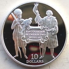 Barbados 1992 Columbus Native 10 Dollars Silver Coin,Proof
