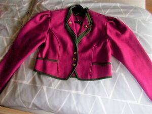 Giesswein Damen Trachtenjanker Jacke fuchsia grün Schurwolle  Gr. 44 neuwertig