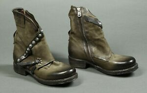 A.S.98 Sheffield Green Leather Ankle Boots Size Euro 37  US 6.5-7