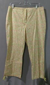 Sigrid Olsen - ladies orange colorful floral cotton spandex long pants - size 12