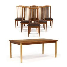 Cherry dining table and 6 leather chairs and Hand crafted in North Carolina