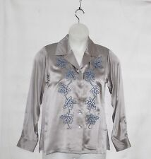 Linea by Louis Dell'Olio Blouse with Leaf Embroidery Size S Silvertone