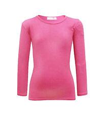 Minx Girls Plain Long Sleeve Kids Top Children Crew Neck T-shirt Age 2-13 Year 7-8 Years Cerise
