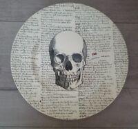 NEW (4) Royal Stafford Halloween Skull With Script Dinner Plate Home Decor