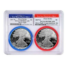 2017 W/S 1 oz Proof Silver American Eagle 2-Coin Set PCGS PF 70 DCAM First
