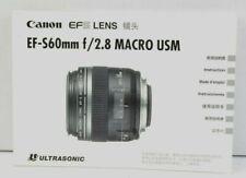Canon EFS Lens Instruction Booklet EF-S60 f/2.8 Macro USM VGC (334)