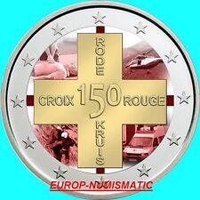 """BELGIQUE 2014  2 EUROS CC """"CROIX ROUGE """" COULEUR/COLOR/ KLEUR/COLORIERT"""