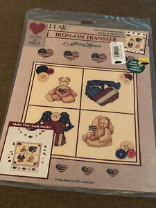 PLAID Iron On Transfer - AMERICANA SAMPLER by Alma Lynne, Teddy Bear Angel Heart