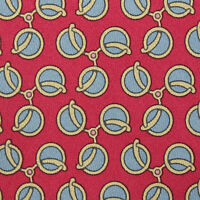 HERMES Authentic Red Stirrup Links 7445 HA France Silk Neck Tie