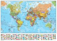 """Modern World Geographic Map with National Flags CANVAS PRINT poster 24""""X16"""""""