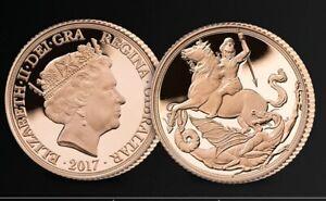 2017 Royal Mint Pistrucci Gold Proof Quarter Sovereign - Box & COA