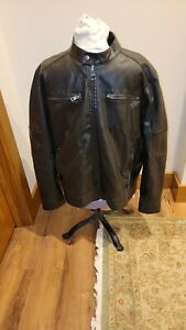 Vintage Guess Men's Black Leather Jacket Heavy quilted lining Size XXL EUC