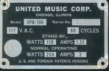 United Upb-100 # 11094 serial number identification plate or tag