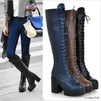 Women Block Heel Lace Up Combat Knee High Boots Platform Synthetic Leather Shoes