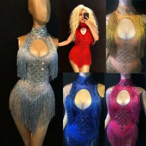 Women Sexy Choker tassel Jumpsuit Bodysuit Sparkling Nightclub Party Dancer Wear