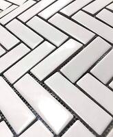 1x3 High Gloss Polished Finish White Herringbone Porcelain Wall Mosaic Tile
