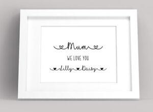Personalised Mother's Day Name Print. Nannan Nanny Mum Mummy Mom Grandchildren