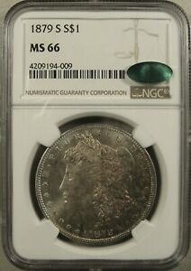 1879-S San Francisco Morgan Silver Dollar NGC MS66 CAC Obverse Nicely Toned