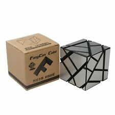 New Smoothy Ghost Cube 3x3 Puzzle Magic Cube Black Silver with Base Holder Bag