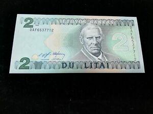 LITHOUANIA 2 LITAI  BANKNOTE 1993 UNC