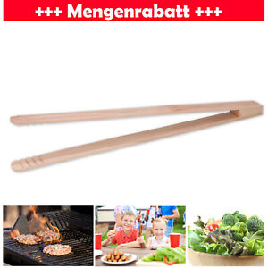 Grillzange Holz Grillbesteck Küchenzange Fleischzange Buchenholz Zange 28cm lang