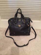 Coach Rhyder 33 Black Soft Grain Leather LARGE Satchel Handbag #33687 RV $698