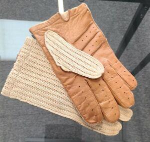 Vintage driving or motorcycle gloves