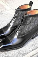 Men Latest Unique Italian Cap Toe Fabric & Leather Boots, botas de cuero