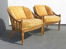 Pair Vintage Mid Century Modern Yellow Velvet Accent Chairs