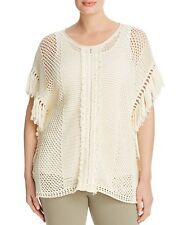 NWT LUCKY BRAND SZ 3X NOMAD  FRINGE PONCHO COTTON SWEATER TOP PLUS SIZE