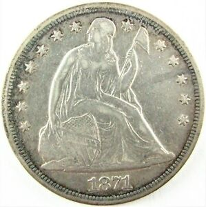 1871-P Seated Liberty Silver Dollar, With Motto, VF-XF Details, Cleaned