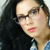 Cat Eye 60s Retro Brown Tortoise Gold Clear Lens Rhinestone Women Eyeglasses