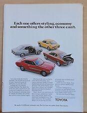1972 magazine ad for Toyota - Corolla fastback, Corona, Celica ST, Mark II