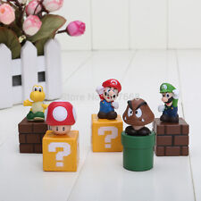 "Mario Bros & Friends (Set Of 5)  2"" Birthday Cake Topper Figurines Set"