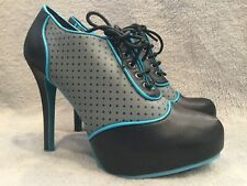 8ed0dc1cfce TUK High Heel Lace Up Booties Black Blue Gray Polka Dot Womens 10 Pinup