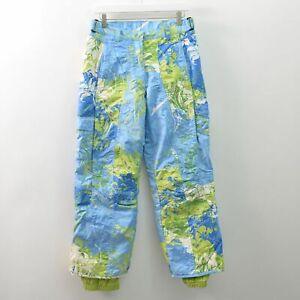Obermeyer Moorea Alt3 Print Ski Pants Blue Green Nylon Ladies 8