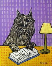 Library art with bouvier des flandres dog art 8x10 Print poster gift modern