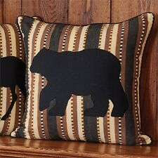 "CANYON BLACK BEAR ACCENT PILLOW : 18"" BROWN BLACK CABIN LODGE RUSTIC CUSHION"