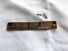 Vintage Atwater Kent Wood Radio Cabinet Tag