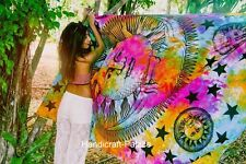 Psychedelic Celestial Sun Moon Stars Tie Dye Tapestry, Hippie Hippy Wall New