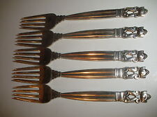 5 VINTAGE ACORN Georg Jensen FIVE FORKS  Sterling Silver LOW BIN PRICE FREE SHIP