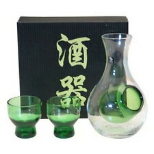 Glass Cold SAKE SET CLEAR GREEN SAKE BOTTLE CUPS #GS-2 S-1678