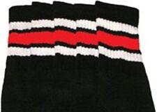 "22"" KNEE HIGH BLACK tube socks with WHITE/RED stripes style 1 (22-118)"