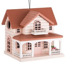 New! Outdoor Hand Made Birdhouse - Bird Cottage Perch - Ocean Bungalow Red Roof