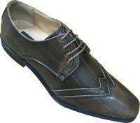 Men's Wing-Tip Man-Made Leather Striped Dress Shoes Fortino Landi 5758