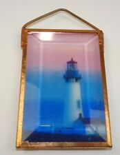 Copper & Beveled Glass Lighthouse Window Decorative Hanger Light Refract 3.75x2