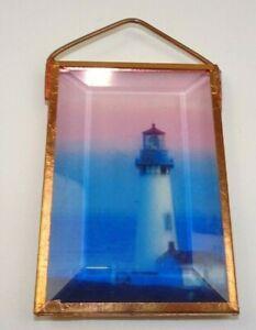 Copper & Beveled Glass Lighthouse Window Decorative Hanger Light Refract 3.75x2